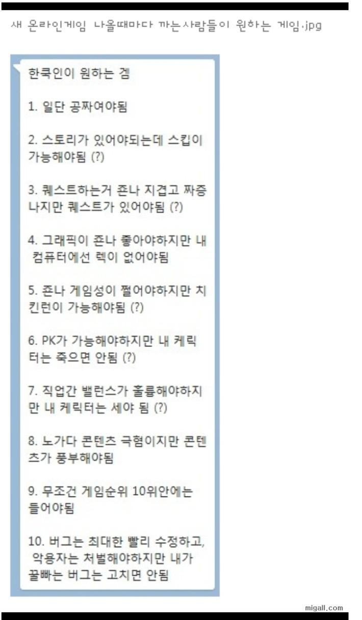 한국인이 원하는 게임