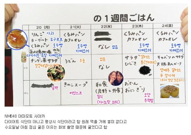 일본 여자 아이돌 일주일 식단표