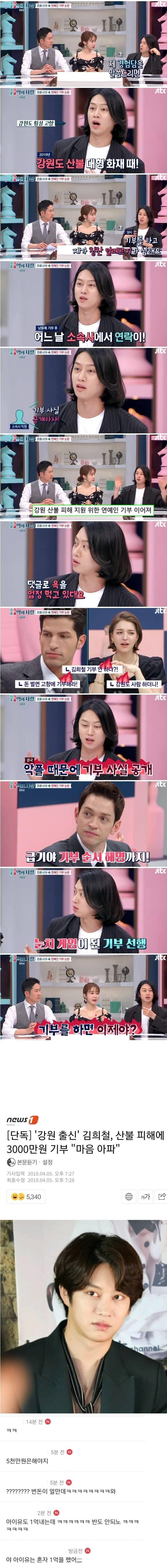 김희철이 기부 사실을 공개한 이유.
